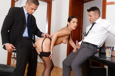 European MILF Angie Moon taking jizz on face in office after hardcore DP