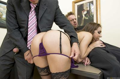 Slutty secretary Kiera King has a groupsex with two well-hung office mates