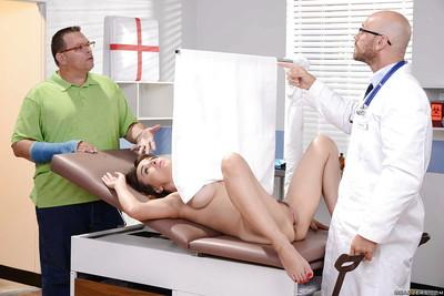 Beautiful mommy Cytherea strips naked for doctor examination