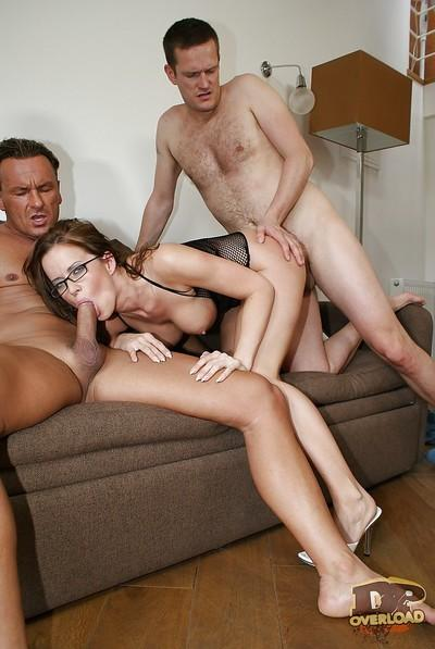 European milf secretary Cindy Dollar gets double penetrated