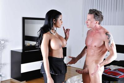 Naturally busty Latina MILF Mary Jean choking on a hard monster cock