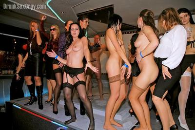 Tempting lassies getting cocked up by male strippers at the sex party