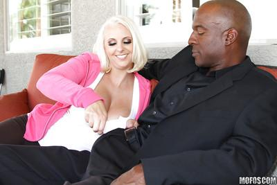 Juggy MILF Mandy Sweet sucks and fucks a black rigid meaty pole