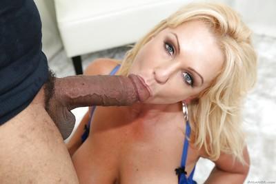 Over 30 MILF Naughty Alysha giving a huge black cock a blowjob on knees