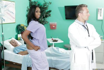 Ebony milf Codi Bryant gets nailed in her sexy nurse uniform