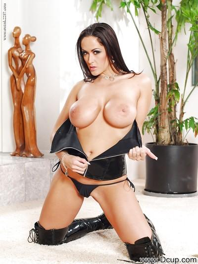 Steaming hot MILF in latex thigh boots revealing her boobs and pussy