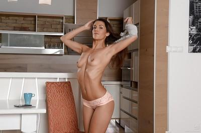 Amateur undressing scene features milf babe with saggy tits Samia Duarte