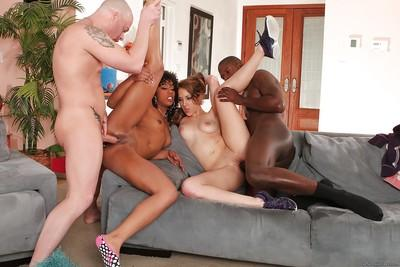 Ebony milf Kiera King dose blowjob and has groupsex with Misty Stone