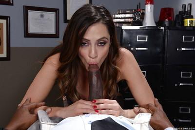Brunette MILF Ariella Ferrera giving oral sex to big black cock in office