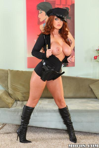 Boots look so great on legs of Sophie Dee in sexy police uniform