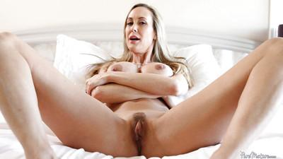 Blonde milf Brandi Love teases her wet cunt and big natural tits