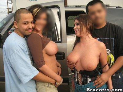 Slutty MILFs Whitney Stevens and Claire Dames getting naked in public