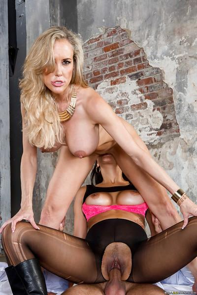 Milf wife Abbey Lee Brazil and her friend Brandi Love fucking one guy