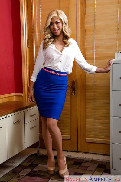 Gemma Jolie sensually strips in the office broadcasting her sexy body