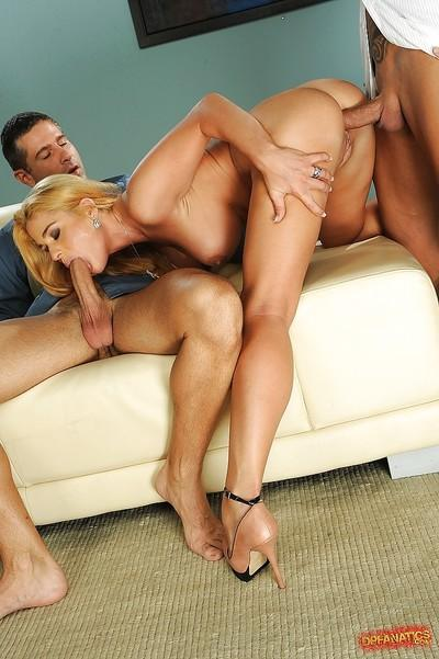 Busty blonde Cathy Heaven gets facialized after hardcore groupsex