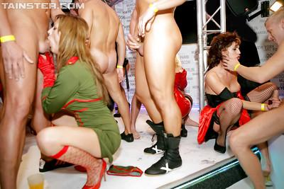 Sexy party chicks playing with their sex toys and hard male strippers