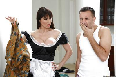 Brunette milf maid sucks a huge cock like a lolipop