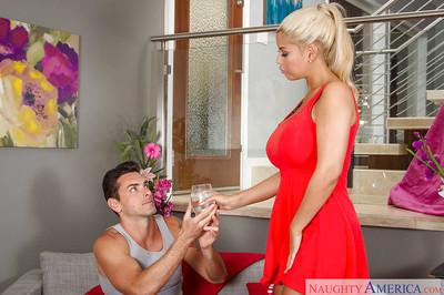 Amateur glamorous blonde Bridgette B. is getting cum on her tits