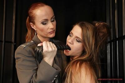 Katy Parker tortures her slim slave and fucks her pussy by a toy