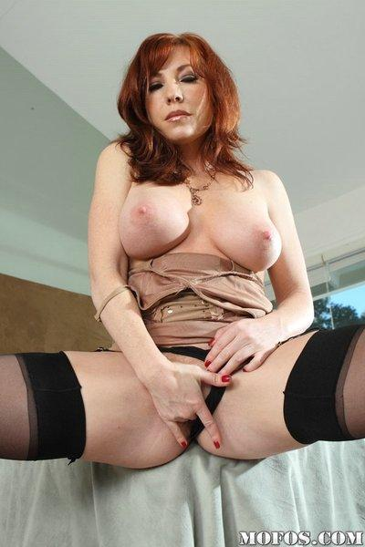 Stockings look so great on legs of milf Brittny O
