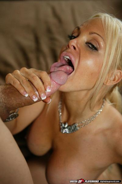 Steamy blonde vixen gives a deepthroat blowjob and gets screwed hardcore