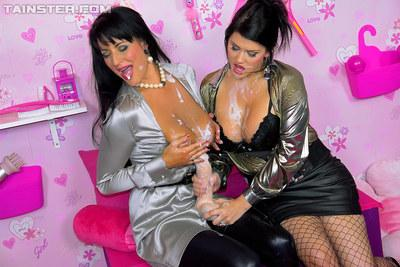Naughty lesbians Jordan Verwest & Carmen Croft having fun with fake jizz