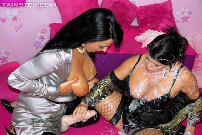 Naughty lesbians Jordan Verwest & Carmen Croft having fun with fake jizz