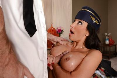 Charming flight attendant Lezley Zen getting dicked by a horny pilot