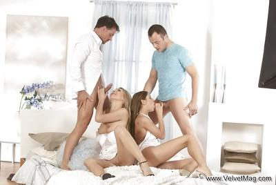 Two hardcore milfs giving a stunning blowjob to their husbands