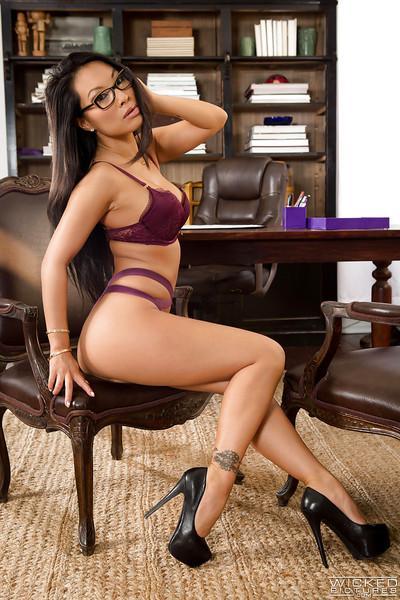 Classy Asian MILF babe model Asa Akira posing topless in glasses