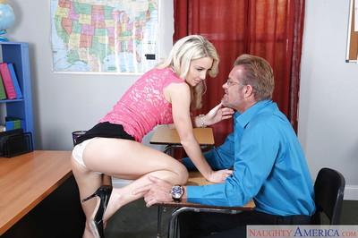 Milf teacher Laura Bentley is spreading her legs in front his dick