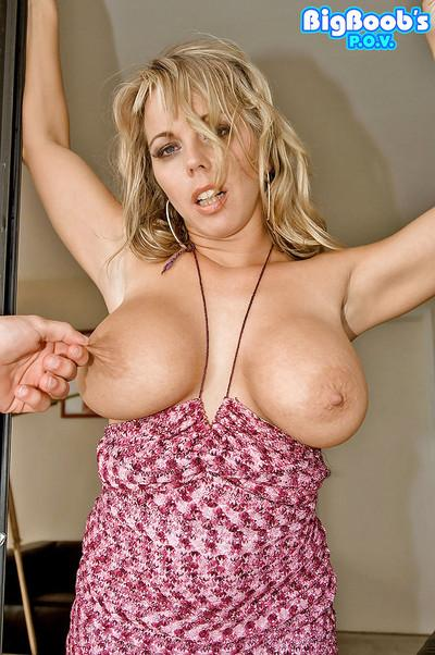 Blonde housewife Amber Lynn Bach frees big MILF juggs for hardcore sex