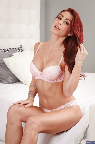 Sweetest redhead bombshell Monique Alexander poses on her high heels