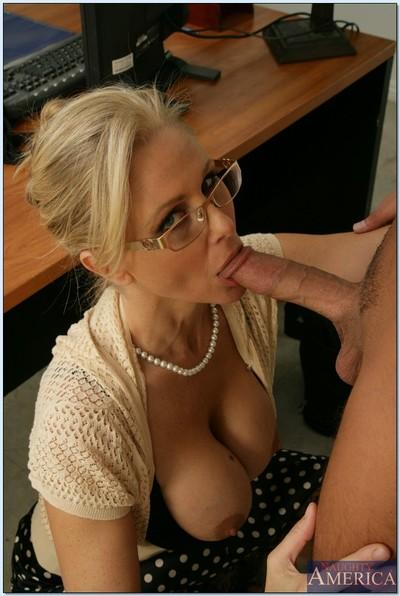 Blond teacher in glasses Julia Ann gets her MILF pussy stuffed hard
