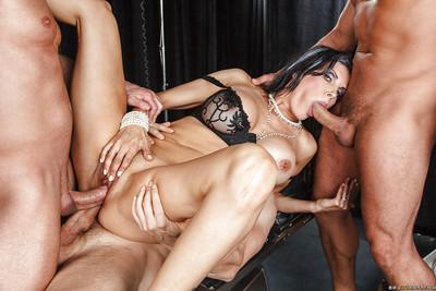 Slutty MILF Shay Sights gets blowbanged and fucked by horny guys