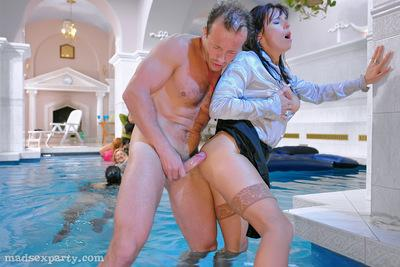 Lecherous MILFs in nylon stockings are into hardcore CFNM pool party