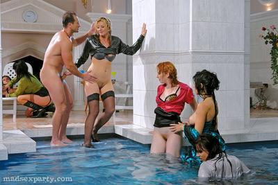 Lecherous MILFs in nylon stockings are into hardcore CFNM pool party