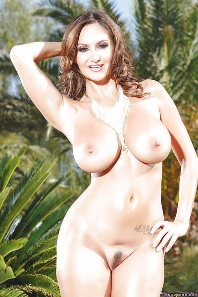 Curvy mom Ava Addams posing in bikini and high heels outdoors