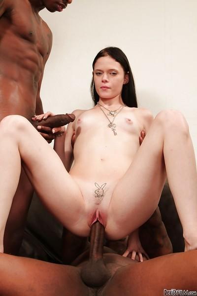 Amazingly hardcore interracial groupsex with brunette Angelica Black