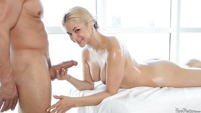 Superb blonde milf Sarah Vandella swallows cock as deep as possible
