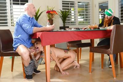 Slender blonde Sarah Jessie is sucking this dick under the table