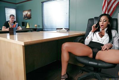 Pretty MILF teacher Audrey Bitoni getting fucked on desk at school