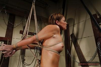 Gorgeous fetish MILF Szilvia Lauren gets bound and strung up