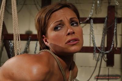 Gorgeous fetish MILF Szilvia Lauren gets bound and strung up