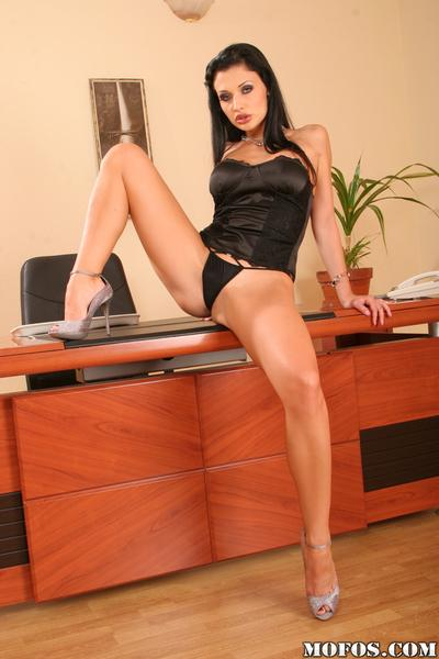 Aletta Ocean strips off satin lingerie and posing in the office