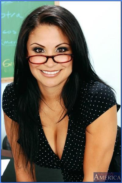MILF teacher in glasses Sophia Lomeli posing in lingerie and stockings