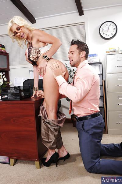 Lewd lady boss Puma Swede fucks her employee for a cumshot on her big tits