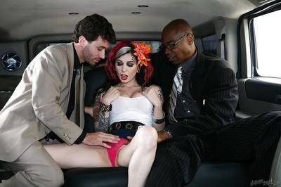 Tattooed slut Joanna Angel is taking part in an interracial sex intercourse