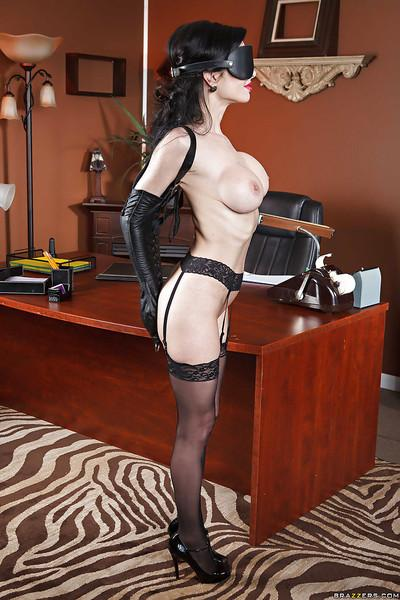 Elegant secretary Veronica Avluv licks big tits and plays with a pussy