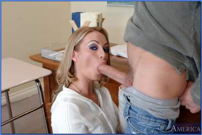 Tempting MILF teacher stripped to stockings and banged on her desk